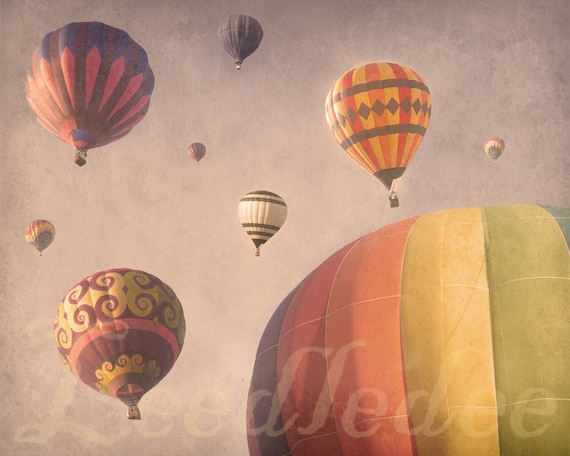 Balloons in the Sky - PINK - Vintage Style Original Photograph Print - Hot Air Balloon Baby Nursery Girls Room Decor