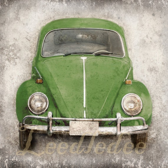 Green Bug (or ANY COLOR) Retro 1960s Volkswagen Beetle - Vintage Style Original Photograph