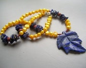 Golden Yellow Freshwater Pearl Necklace with Lapis Carved Leaf Pendant and Lapis Chips