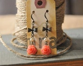 Vintage Rose & Bow Earrings