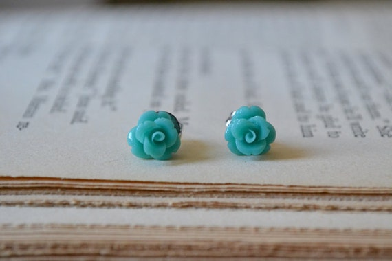 Tiny Turquoise Roses Post Earrings