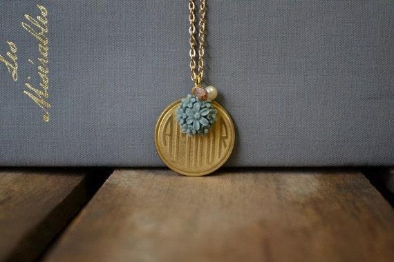 Vintage Gold Amour Pendant Necklace