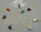 Natural Stone Gold Wine Charm Set (8 charms)