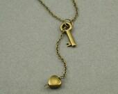 Key to My Heart brass lariat necklace
