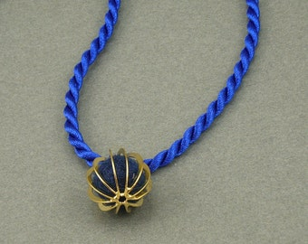 Blue and Gold aromatherapy necklace
