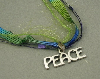 Peace on Earth fiber necklace