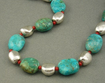 Southwest Silver nugget necklace