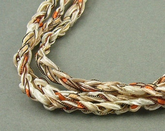 Amber and Ivory Crochet Ribbon Necklace