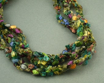 Spring Meadow Crochet Ribbon Necklace