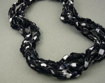 Moon at Midnight crochet ribbon necklace