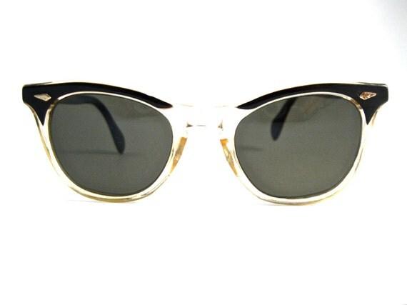 black and clear horn rimmed sunglasses. non prescription. retro American Optical brand. cat eye style. (VFAC)