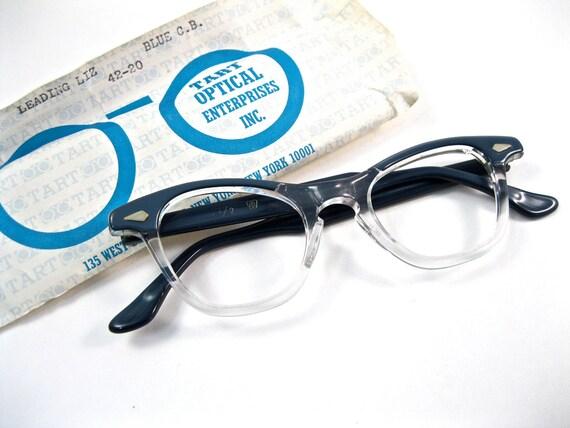 tart optical leading liz cat eye glasses. slate blue. horn rimmed style. vintage OTE arnel. NOS/deadstock new old stock. 42 20.