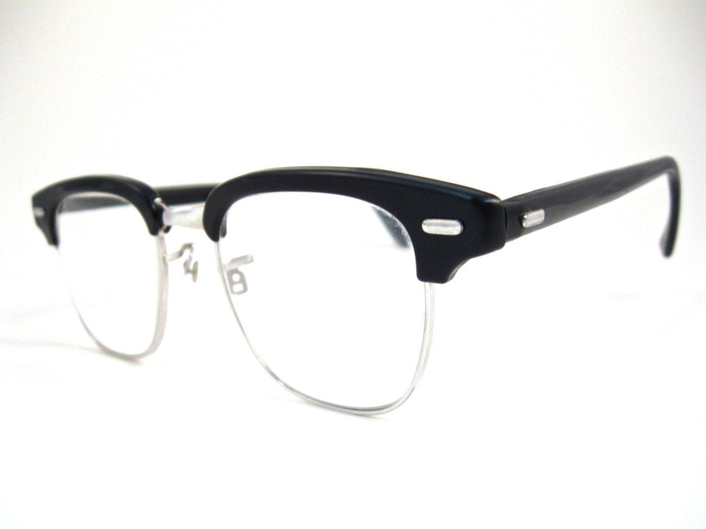 mens black horn rimmed clubmaster glasses. 1950s retro VAM