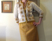 Vintage 60s Cardigan Sweater Embroidered Harvest Gold Autumn Flowers