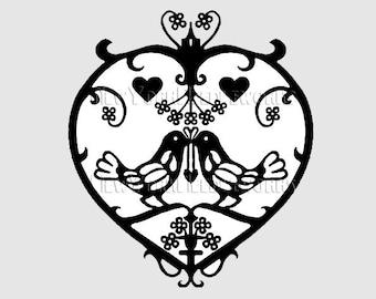 Birds Pattern, Lovebirds, Heart Pattern, Cross Stitch, Birds in Heart, Needlepoint, Cross Stitch, Silhouette from NewYorkNeedleworks on Etsy