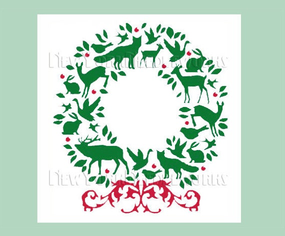Christmas Wreath Cross Stitch, Woodland Wreath, Animal Wreath, Christmas Cross Stitch, Silhouette Pattern, Wreaths by NewYorkNeedleworks