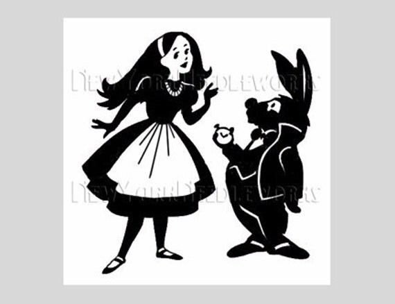 Alice in Wonderland Cross Stitch, Alice and Rabbit Pattern, Cross Stitch, Alice in Wonderland Silhouette from NewYorkNeedleworks on Etsy