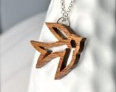 Medium Dove Necklace, Flying Swallow Pendant, Bamboo Jewelry