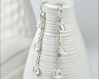 OOAK Silver Chain Earrings with 3 Flat Glass Beads