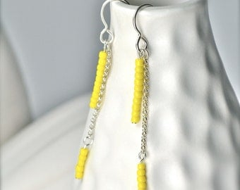 Bright Yellow Dangle Earrings, Marigold and Silver Earrings, Springtime Jewelry