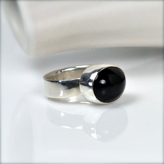 Black Onyx Knuckle Ring, Silver and Black Midi Ring, Pendant Sized Ring