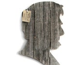 Abraham Lincoln, wall art,  made of recycled fence wood, Abe