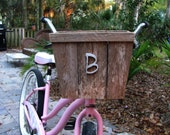 bike basket made from recycled wood.  bicycle basket, wooden upcycled