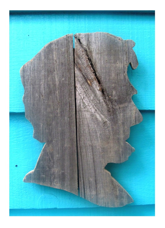 """Small Abraham Lincoln made of recycled fence wood, Abe (10"""" x 7"""")"""