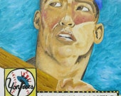 Mickey Mantel Original Painting Reproduction 11x14 Print from Baseball Card
