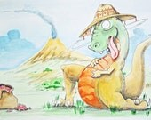 Original Watercolor Painting Page 16 17 from Children's Book Thunderful Dino that Ate too Many Red Beans.