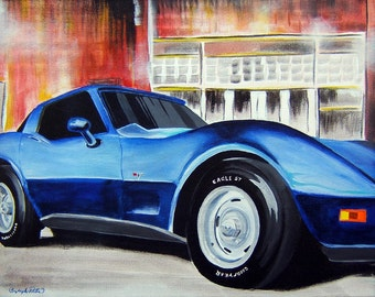 18x24 Personalized Custom Car Transportation Painting Artwork any style.  Canvas with Acrylics.