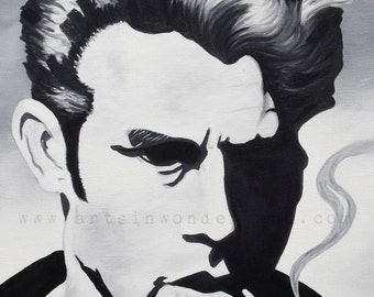 James Dean Original Artwork BLACK and White Painting Reproduction Poster 11x14 Print