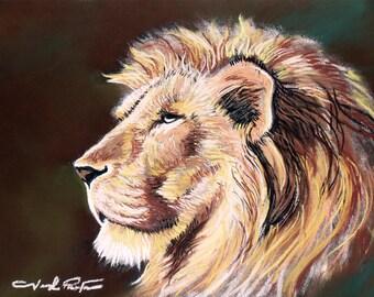 King of Wonderland Lion Original Pastel Art Print 11x14 Used on TV Series Pilot Workers Comp
