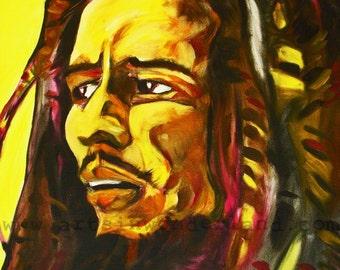 Bob Marley Original Painting Print by Joseph Palotas