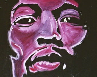 Jimmy Hendrix Original ART Poster Print 11x14 Pop Art Portrait Purple Haze