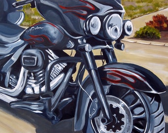 HAWG 1 One of a Kind Harley Davidson Motorcycle Panting Reproduction 11x14 Poster Print