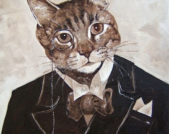 Pondering Paws Kitty Cat Unique Original Painting Poster Print 11x14 print