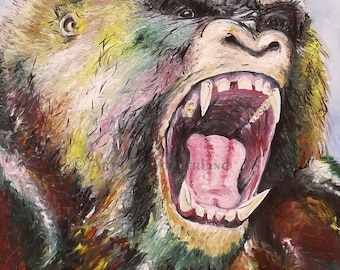 Unleashed Gorilla Portrait Expressionism Painting Original Poster Print 11x14