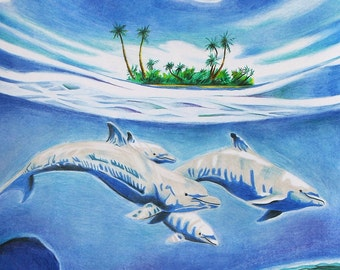 Dolphin Original Underwater Colored Pencil Drawing Reproduction 11x14 Illustration Poster Print