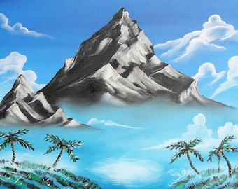 Paradise Lost Original Landscape Mountain and Palm Trees Blue and Greens Reproduction 11x14 Print