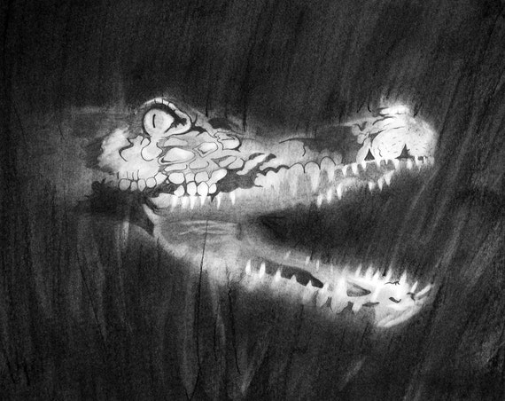 Toothy Smile Alligator Original Drawing PRINT Reproduction Dark Black and White Pastel Chalk Look 11x14