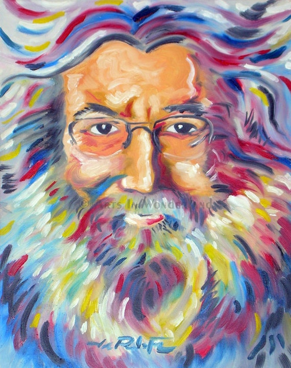 Jerry Garcia Original Artwork 11x14 Reproduction Print Touch of Grey Expressionism Wall Decor
