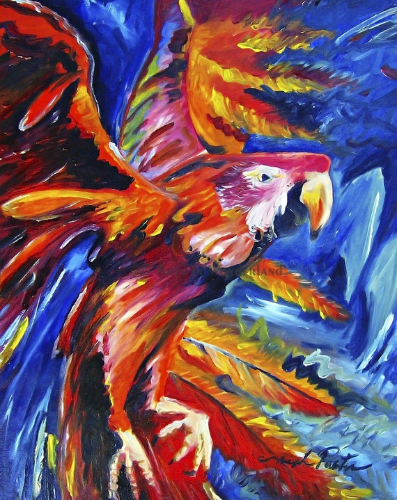 Flora in Flight Scarlet Macaw Expressionistic Bird Painting Original Artwork Reproduction Print 11x14