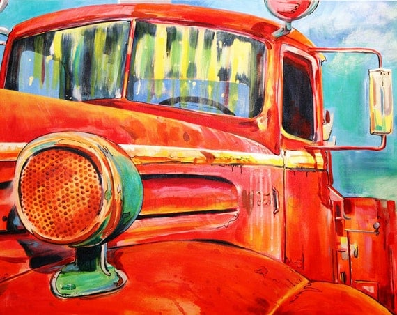 Officially Retired Vintage Firetruck Painting Reproduction 11x14 Print Affordable Artwork
