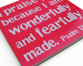 ON SALE! 60% OFF! Psalm 139:14 Mounted Print 12x12 Fearfully and Wonderfully Made