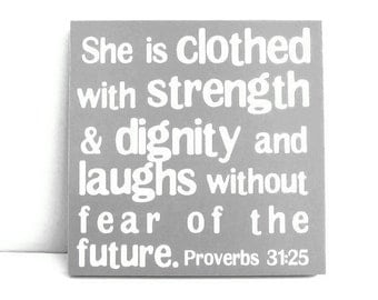 ON SALE! 60% OFF! Proverbs 31 Mounted Print 12x12 Clothed with Strength and Dignity