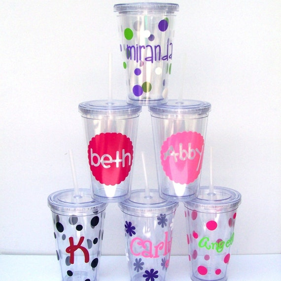 Set of 6 Personalized Insulated Acrylic Tumblers with Lids and Straws