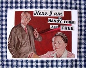 ACEO Original Collage - Here I am in Handy Form