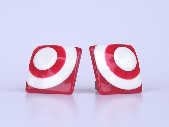 Vintage Mod Lucite Red and White Geometrical Clip On Earrings