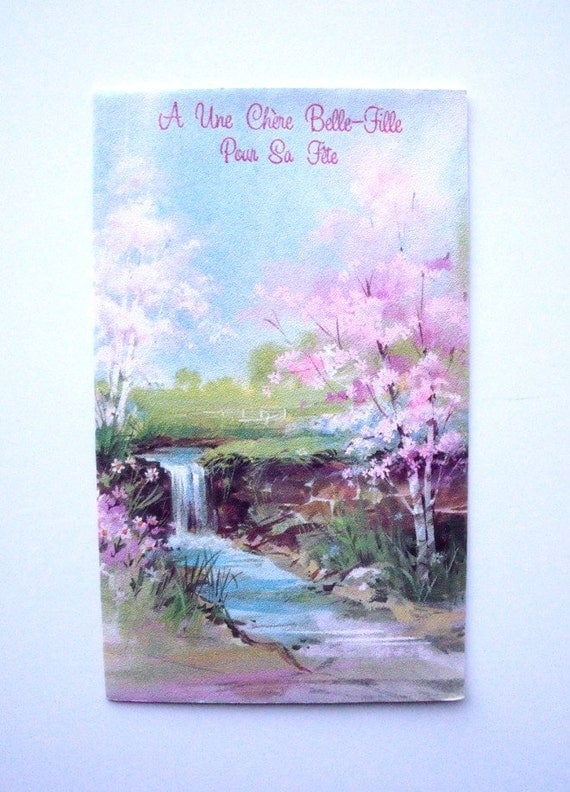 Vintage 1970s French Daughter-In-Law Birthday Greeting Card Pastel Landscape - Unused - Carlton Cards Canada